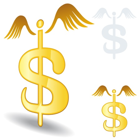Una imagen de un signo de dólar símbolo del caduceo médico.