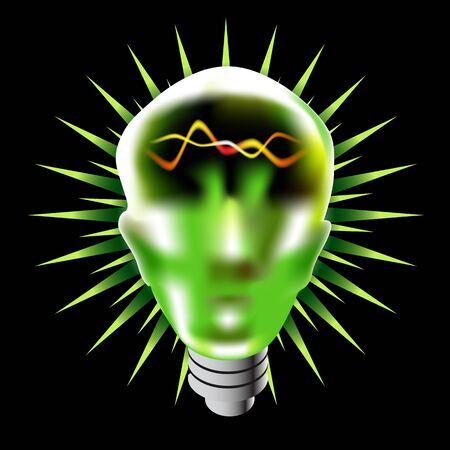 green light bulb: An image of a green lightbulb head.