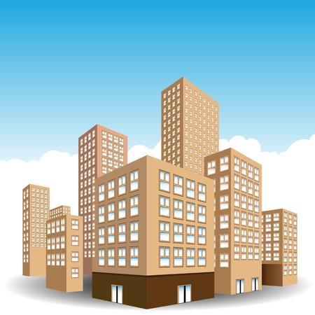 Een beeld van een centrum van de stad van gebouwen. Stock Illustratie