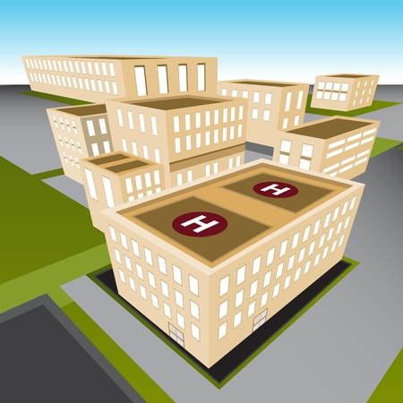 hospital caricatura: Una imagen de un hospital de la ciudad.