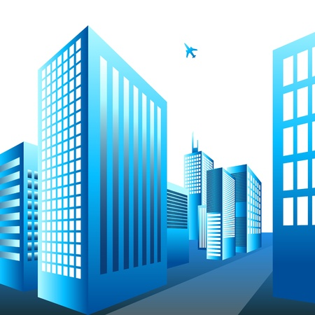 An image of a plane flying over a city. Stock Vector - 11386801