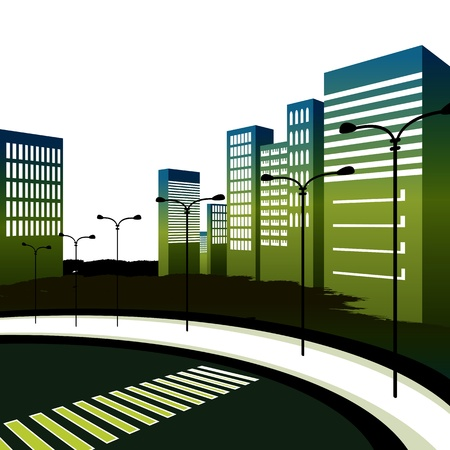 An image of a crosswalk in a large downtown city. Vector
