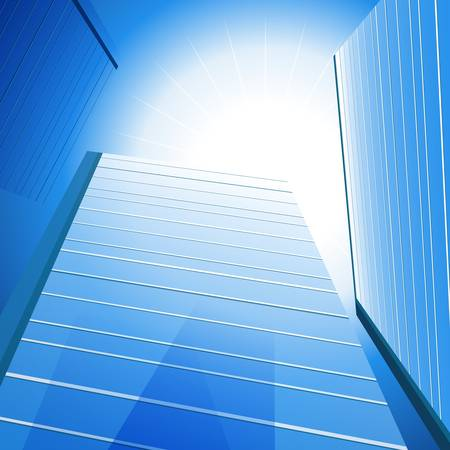 An image of a three tall glass buildings under the sun. Vector