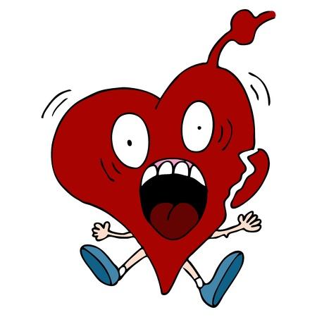 attacco cardiaco: L'immagine di un personaggio dei cartoni animati attacco di cuore.