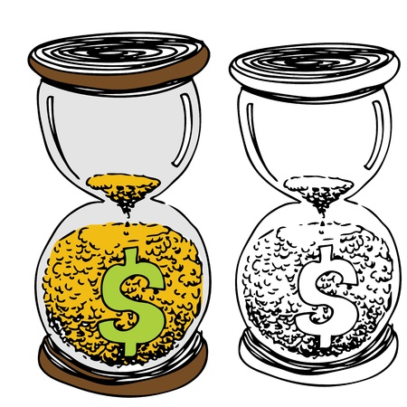 An image of a dollar sign hour glass with gold sand. Vector