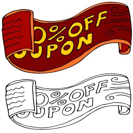 Een afbeelding van een cartoon coupon. Stock Illustratie