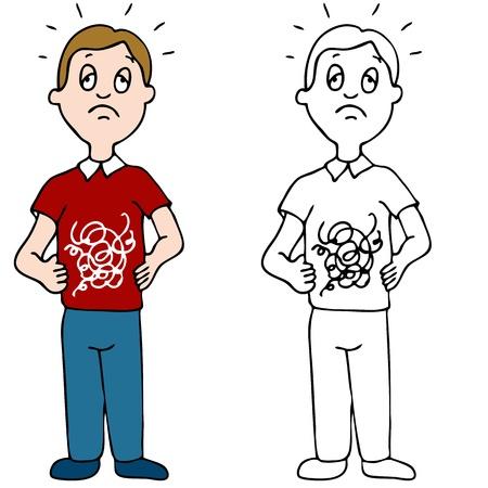 животик: Образ человека с его желудка в узлах. Иллюстрация