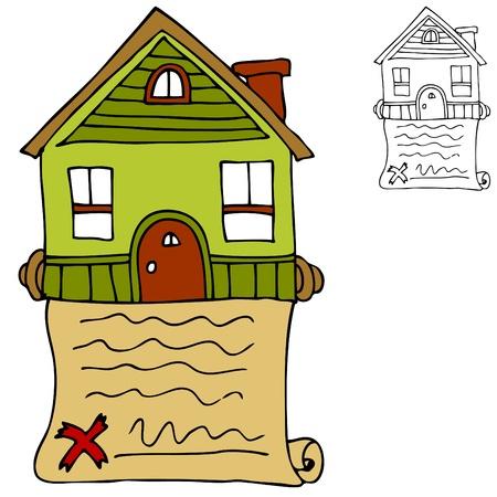 서명 된 부동산 집 계약의 이미지.