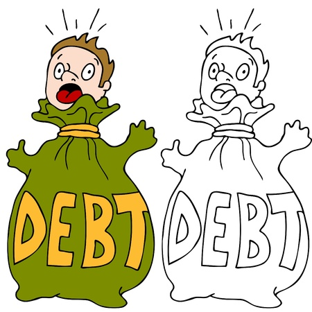 男のイメージは負債のお金の袋に閉じ込められました。