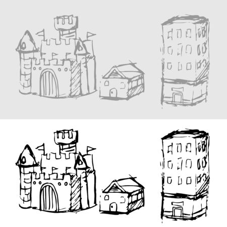 doodle art clipart: An image of a set of building drawings. Illustration