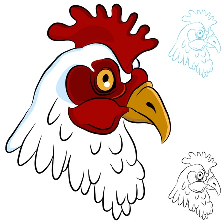 An image of a chicken head. Illustration