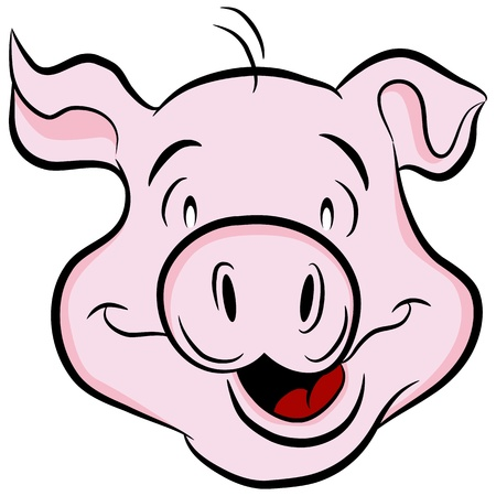 An image of a pig head. Vector