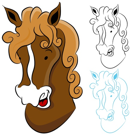 An image of a horse head drawing. Illustration