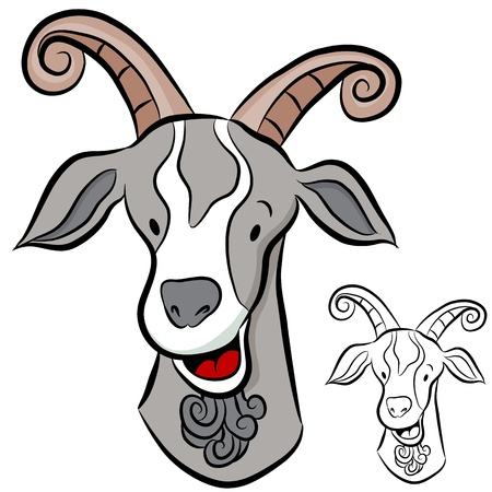 An image of a goat head. Vector