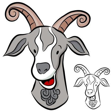 cabra: Una imagen de una cabeza de cabra.