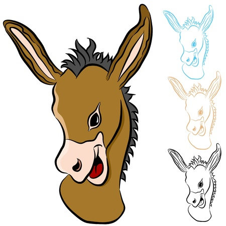 An image of a donkey head. Vector