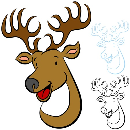 An image of a cartoon deer. Vector