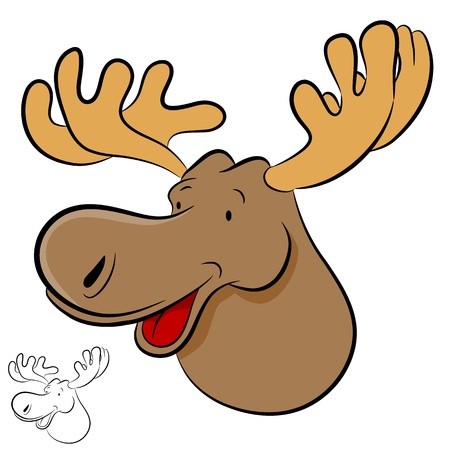 moose antlers: An image of a moose wild animal cartoon.