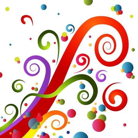 curving lines: An image of a colorful festive party swirls.