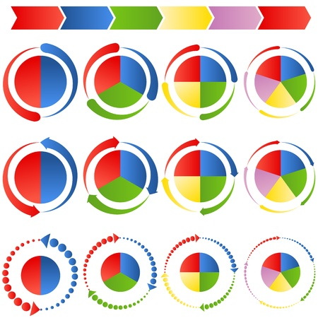 An image of a process arrow pie charts. Illustration