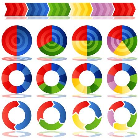 grafica de pastel: Una imagen de un proceso de gráficos de sectores objetivo. Vectores