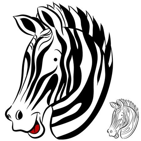 zebra heads: An image of a cartoon zebra.