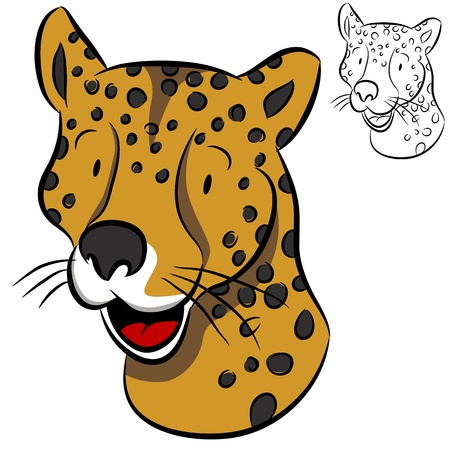 An image of a cheetah face. Vector