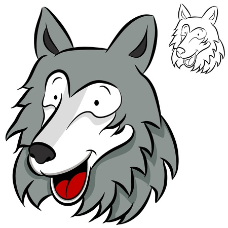 An image of a wolf face. Illustration
