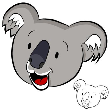 animal heads: An image of a koala face. Illustration