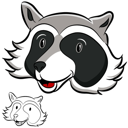 racoon: An image of a racoon face. Illustration
