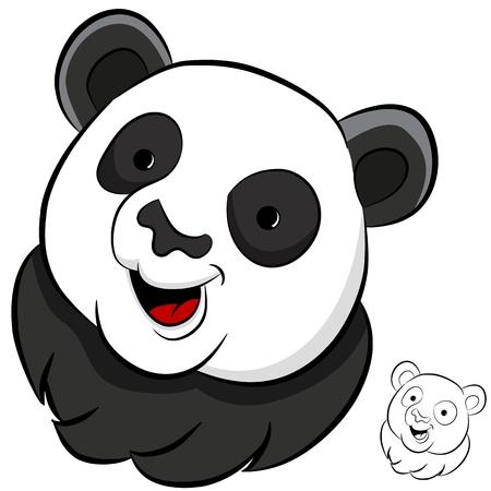 An image of a panda face. Vector