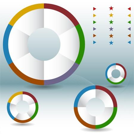 An image of a process wheel pie chart set. Vector