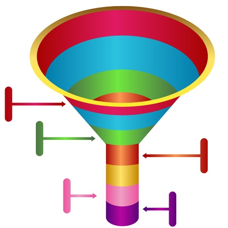 An image of a funnel system chart. Vector