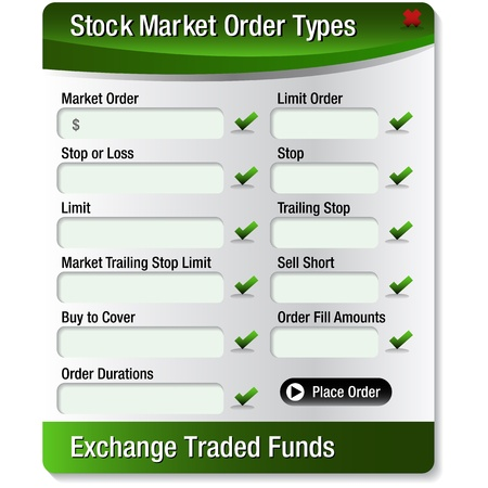 purchase order: An image of a stock market order type menu. Illustration
