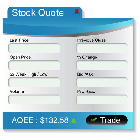 market place: An image of a stock market quote menu.