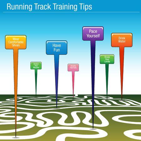 cool down: Una imagen de un entrenamiento de pista de atletismo consejos mapa.