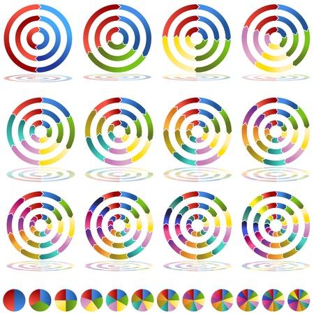 An image of two through thirteen segmented arrow wheel target icons. Illustration