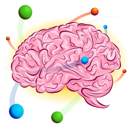 cartoon atom: An image of a atomic brain. Illustration