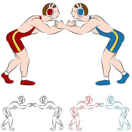 An image of two wrestlers. Vector