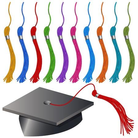 卒業の帽子とタッセルのイメージ セット。