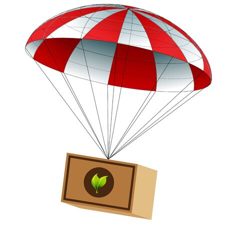 An image of a charitable food supply package attached to a parachute. Vector