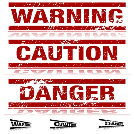 danger warning sign: An image of a set of weathered warning signs.