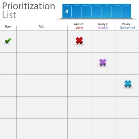 Een afbeelding van een prioriteitenlijst grafiek. Stock Illustratie