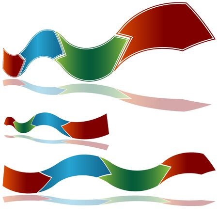 curving: An image of a wavy ribbon arrow chart.