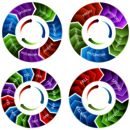 blue circles: An image of a vibrant colorful time wheel arrows.