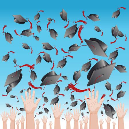 high hat: An image of a graduation day cap tossing ceremony. Illustration