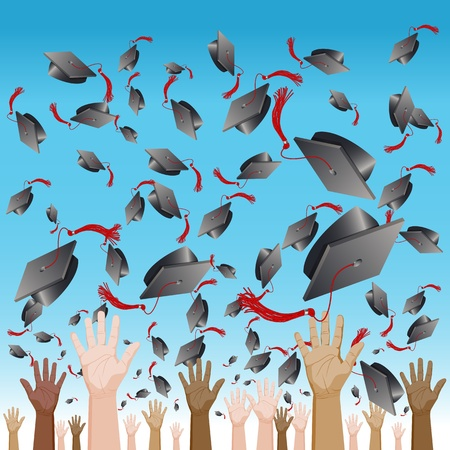 flying hat: An image of a diversity graduation day cap tossing ceremony.