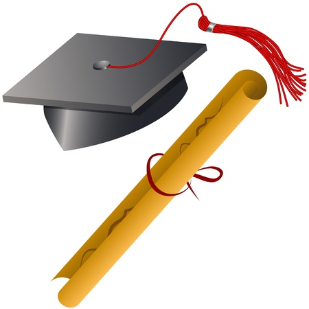 An image of a graduation cap and diploma set. Vector