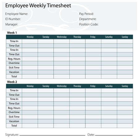 An image of a employee timesheet template. Vector