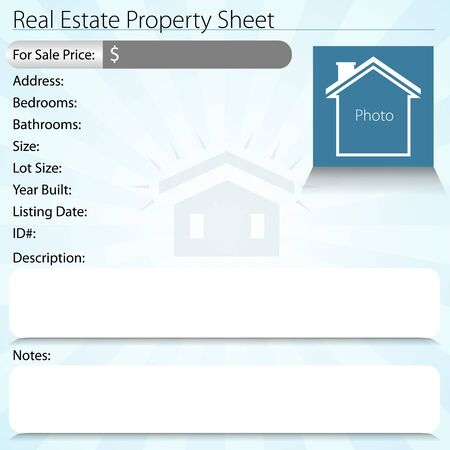 description: An image of a real estate property sheet. Illustration